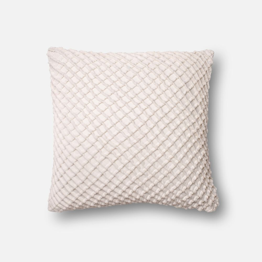 "Contemporary 22""x22"" Cover w/Poly Pillow in White"