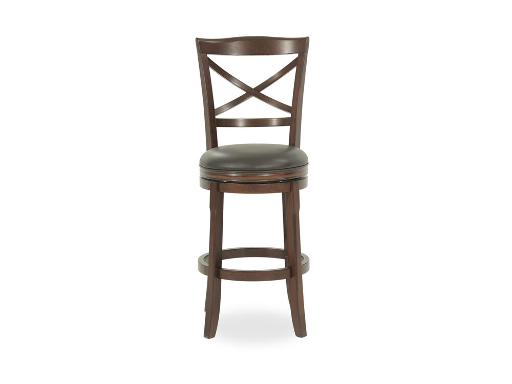 """Traditional 45"""" X-Back Swivel Bar Stool in Brown"""