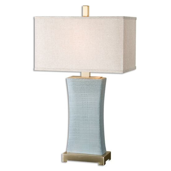 Textured Table Lamp in Blue Gray