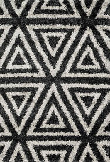 "Contemporary 3'-9""x5'-6"" Rug in Charcoal/Ivory"