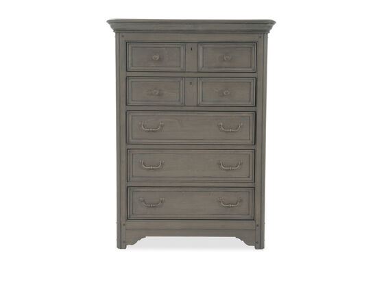 """55"""" Transitional Paneled Five-Drawer Drawer Chest in Driftwood"""