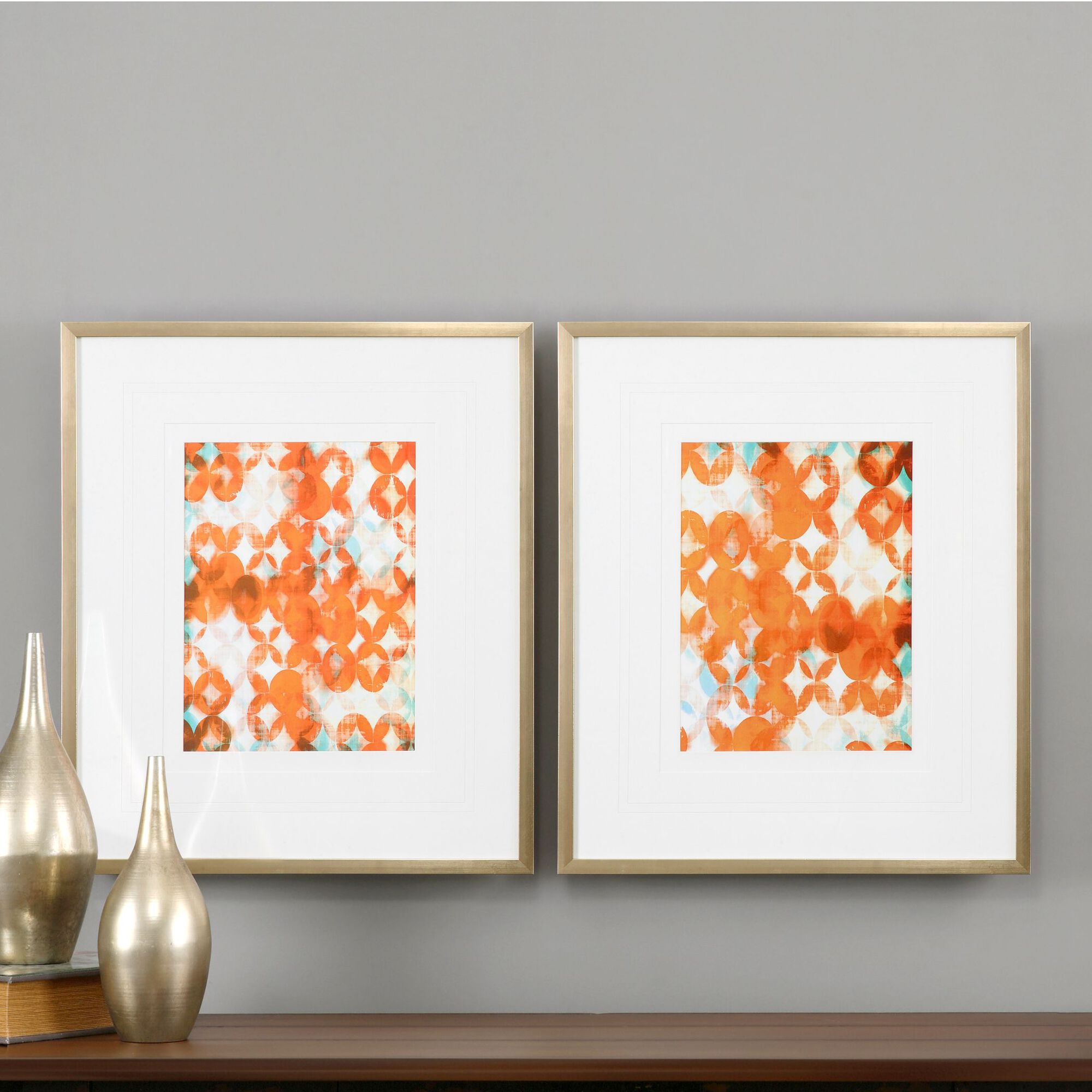 Two Piece Framed Abstract Printed Wall Art Set In Tealorange