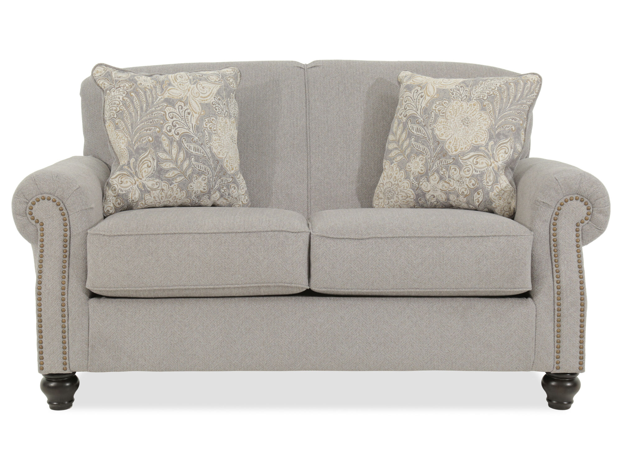 Chevron Textured Contemporary 68 Quot Loveseat In Gray