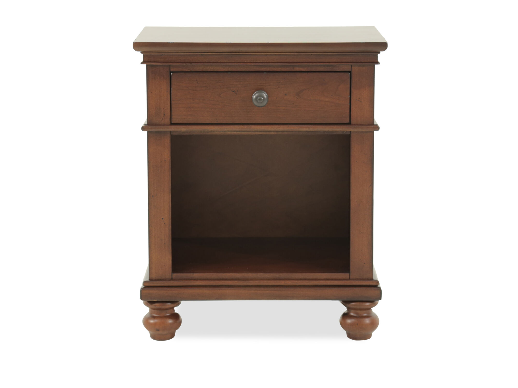 """30"""" Transitional One-Drawer Nightstand In Whiskey Brown"""