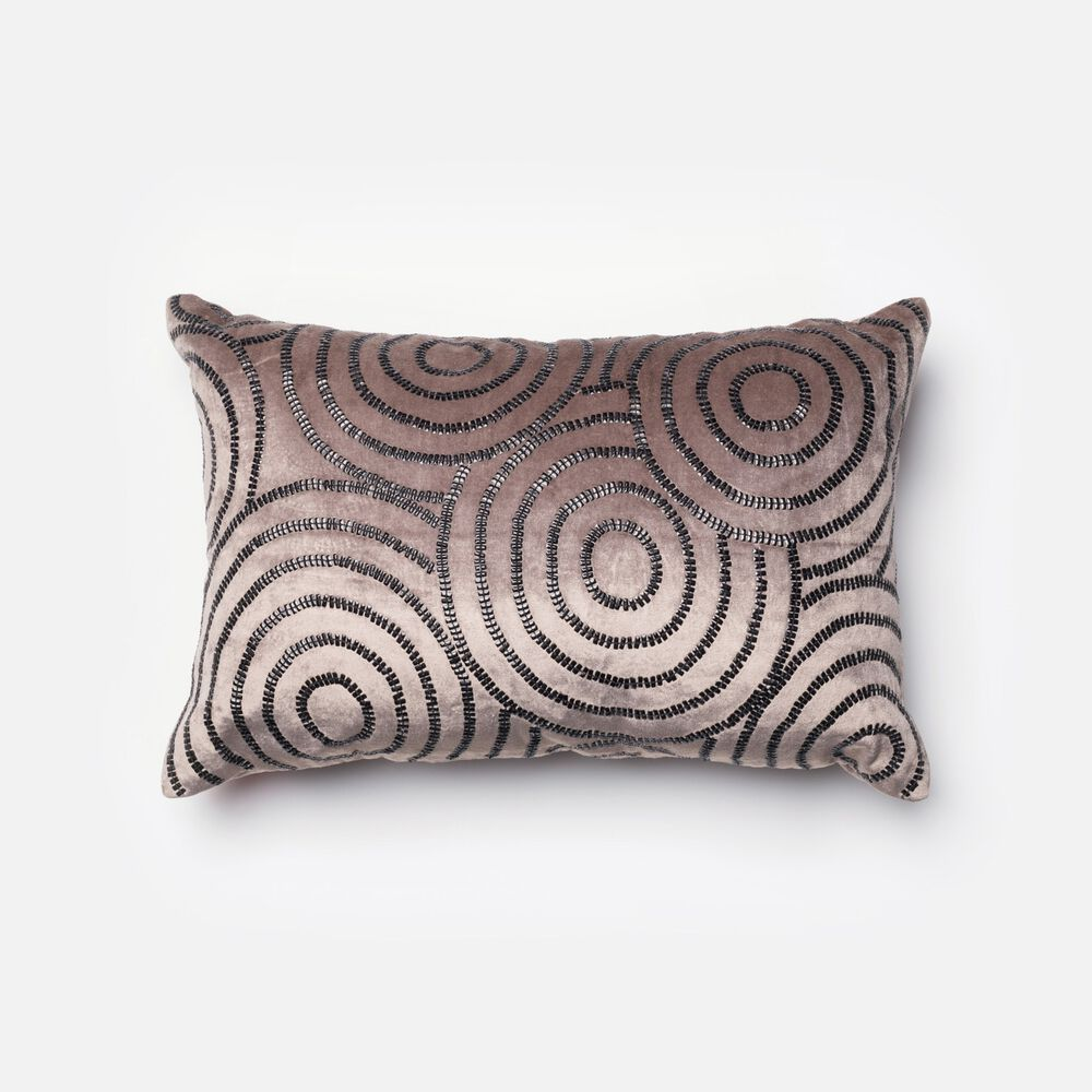 """Contemporary 13""""x21"""" Cover w/Poly Pillow in Charcoal/Black"""