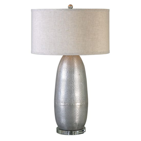 Hardback Drum Shade Hammered Table Lamp in Industrial Silver
