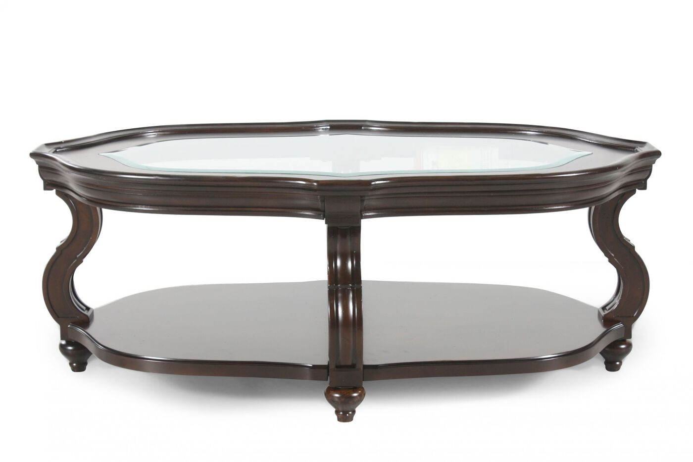 Glass Insert Oval Contemporary Cocktail Table In Cherry Mathis Brothers Furniture