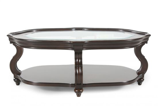 Glass-Insert Oval Contemporary Cocktail Table in Cherry
