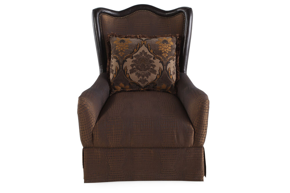 """Skirted Traditional 32"""" Accent Chair in Sable"""