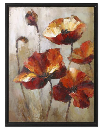 Hand Painted Framed Floral Canvas Wall Art