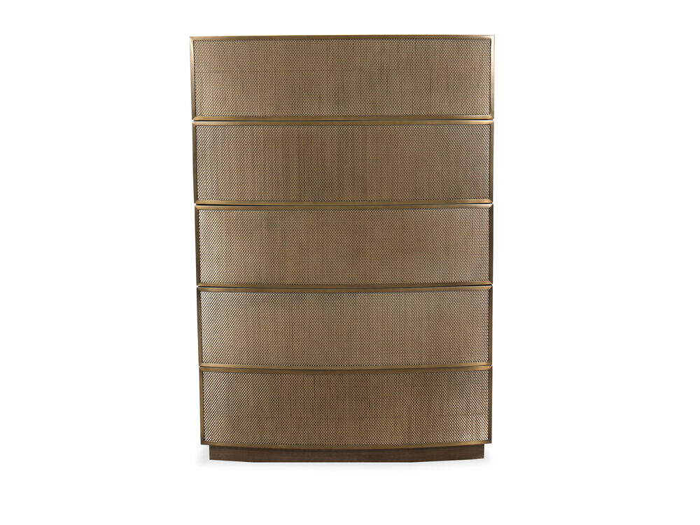 "55"" Modern Five-Drawer Chest in Tapestry Gold"