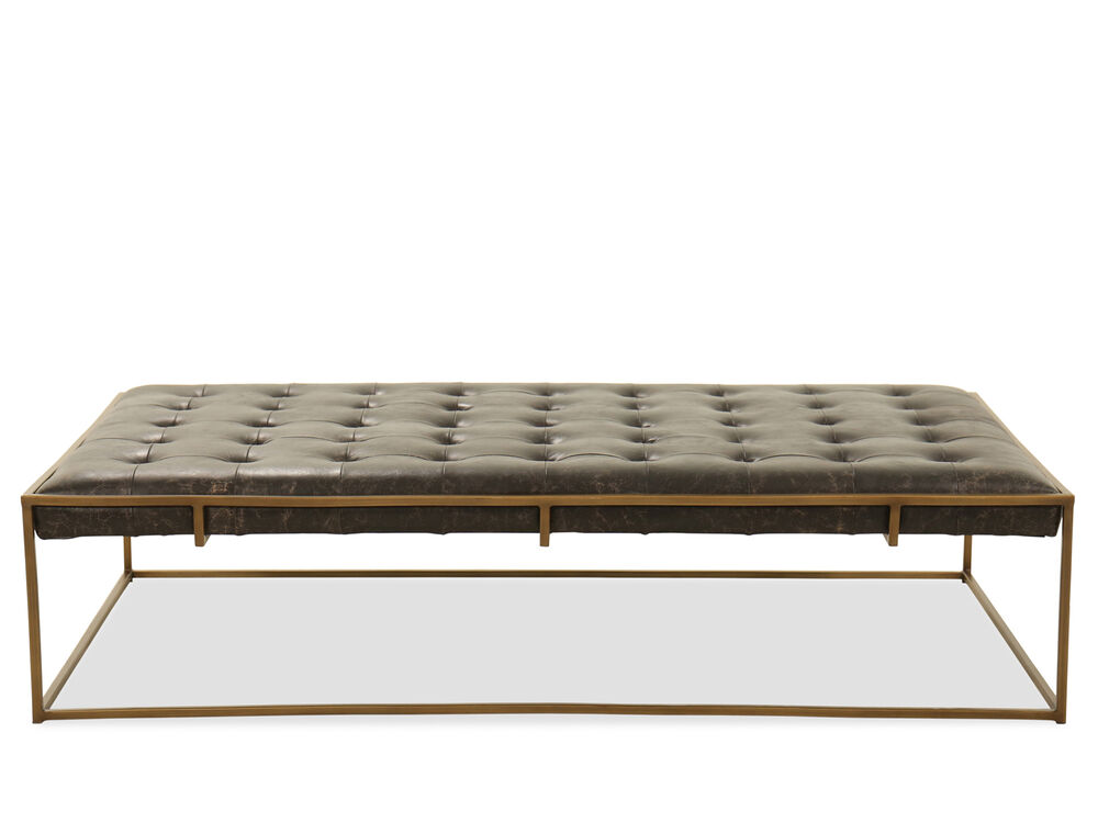 Rectangular Tufted Ottoman in Brown