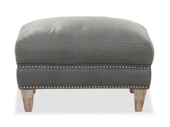 Nailhead-Trimmed Contemporary 31'' Ottoman in Gray