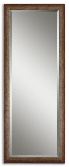 "64"" Rectangular Beveled Mirror in Burnished Brown"