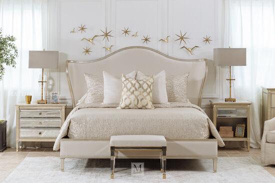 "62"" Modern California King Bed in Beige"