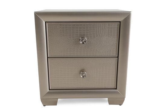 """26"""" Transitional Two-Drawer Nightstandin Glamour Silver"""