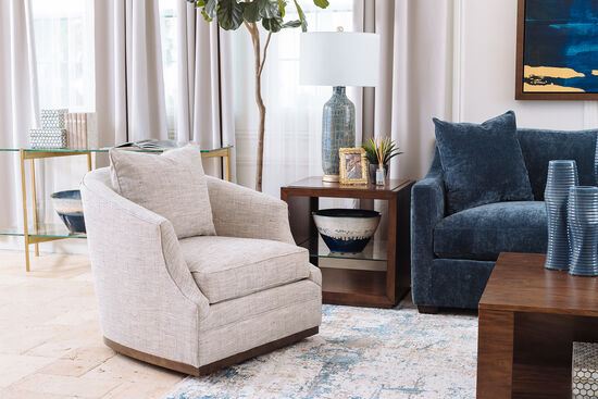 Transitional Swivel Chair in Heather Gray