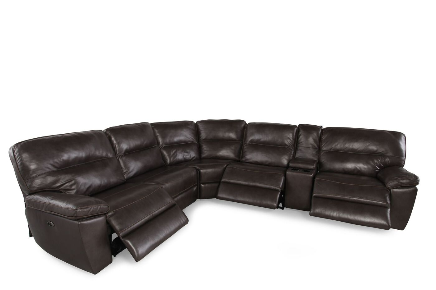 Six-Piece Contemporary Leather Reclining Sectional in Dark Gray ...