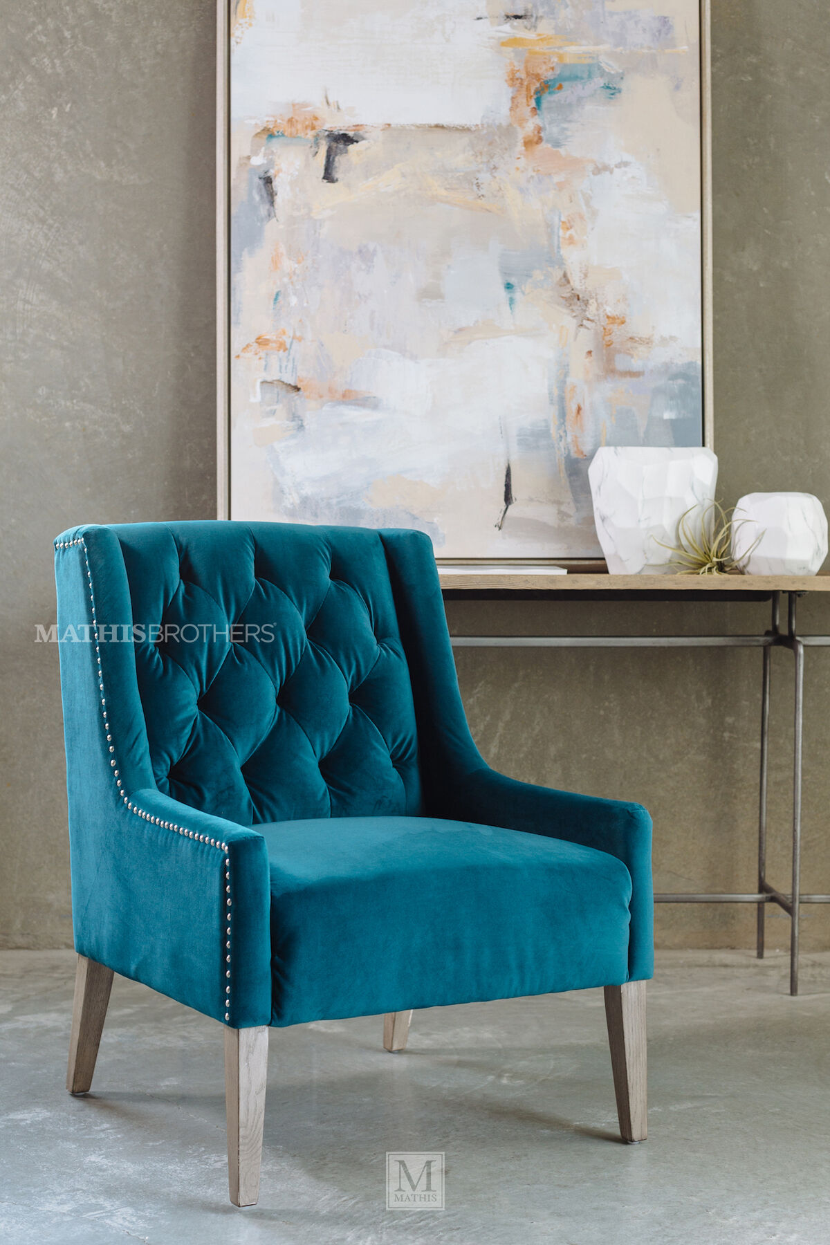 ... Tufted Casual Velvet Accent Chair In Blue