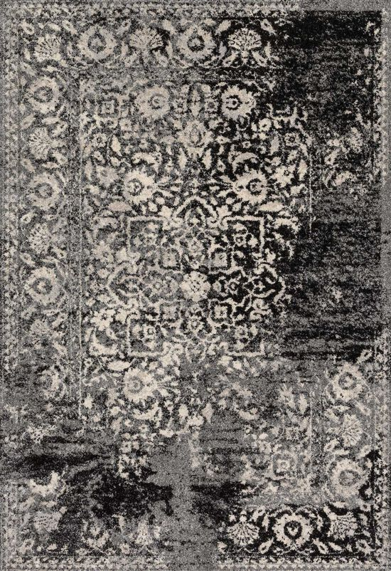 """Transitional 2'-5""""x7'-7"""" Rug in Black/Ivory"""