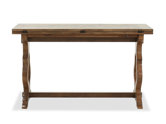 Traditional Flip Top Sofa Table in Winter Wheat