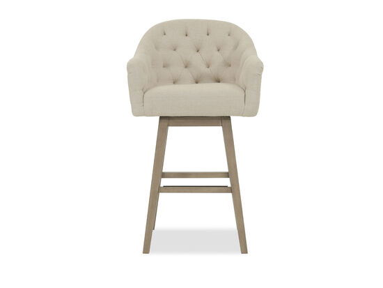 """Nailhead Accented 42"""" Tufted Bar Stool in Beige"""