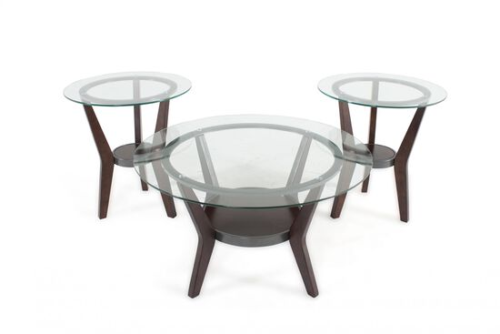 Three-Piece Round Contemporary Coffee Table Set in Dark Brown