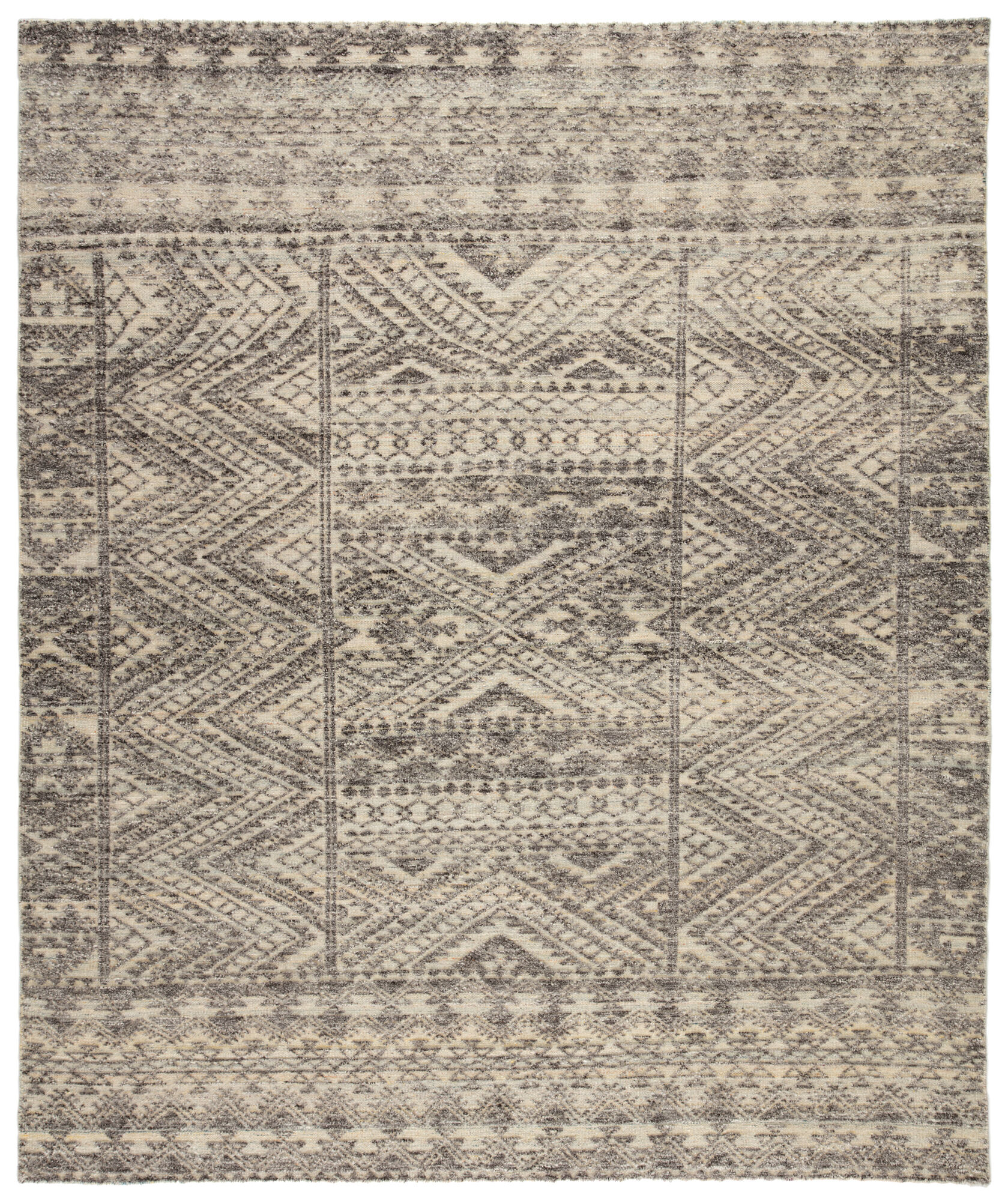 Prentice Hand Knotted Geometric Dark Gray Taupe Area Rug 5 X8 Mathis Brothers Furniture
