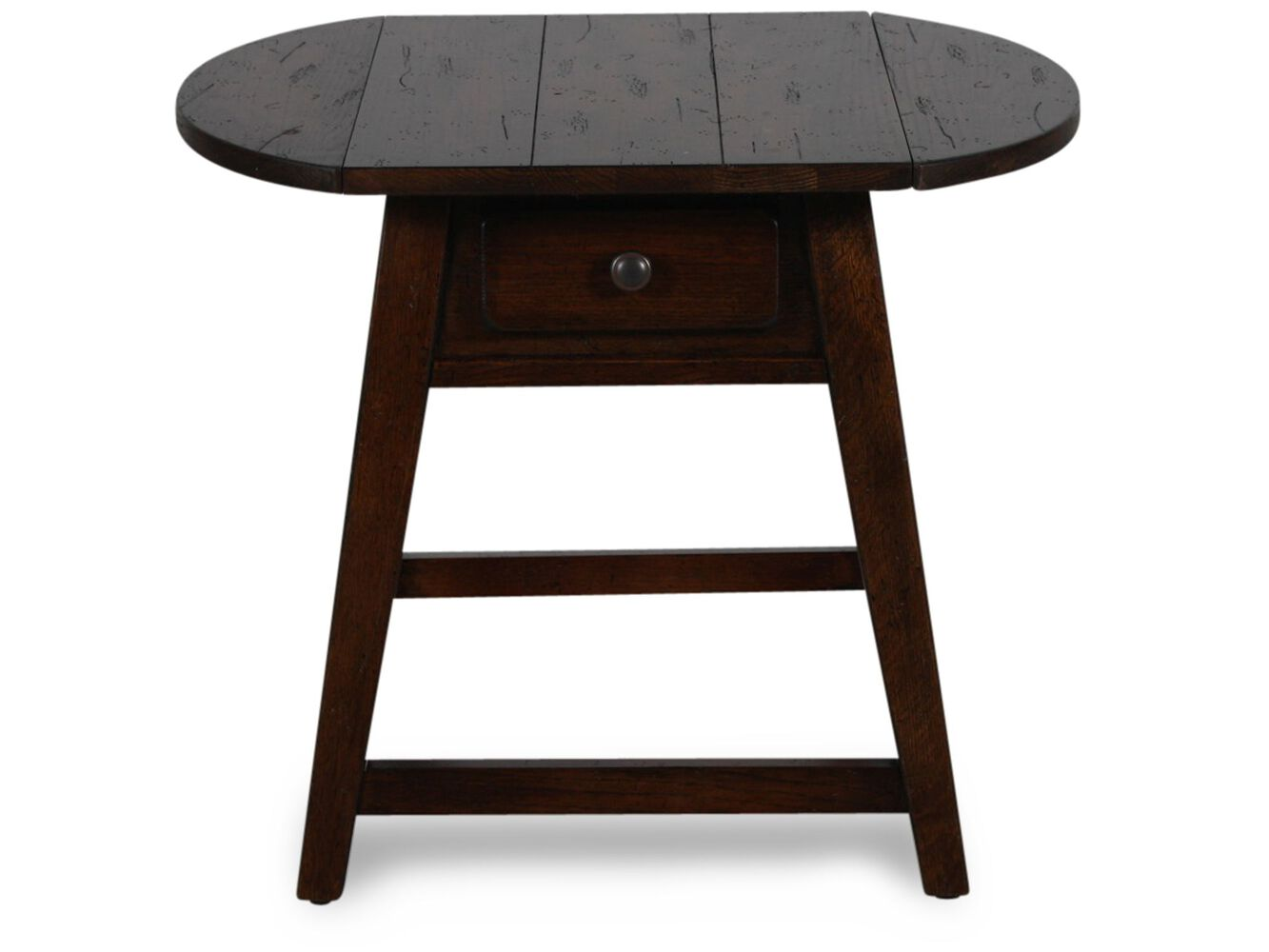 Oval Tapered Legs Country End Table In Dark Oak Mathis