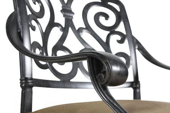 Scroll-Back Aluminum Swivel Rocker with Cushion in Black