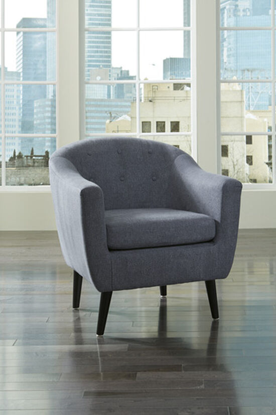 "Button-Tufted Mid-Century Modern 30"" Accent Chair in Blue"