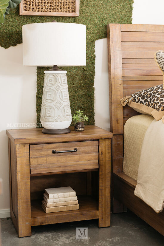 """27"""" Industrial One-Drawer Nightstand in Weathered Brown"""