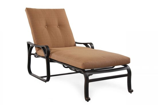 Button-Tufted Aluminum Chaise Lounge in Brown