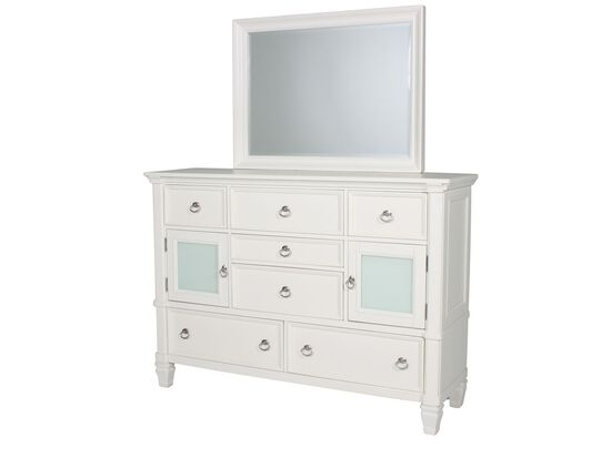 Two-Piece Contemporary Paneled Dresser and Mirror in White