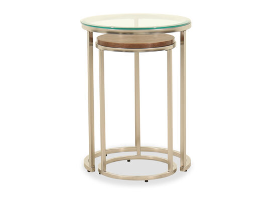 Two-Piece Round Contemporary End Table Set in Brushed Nickel