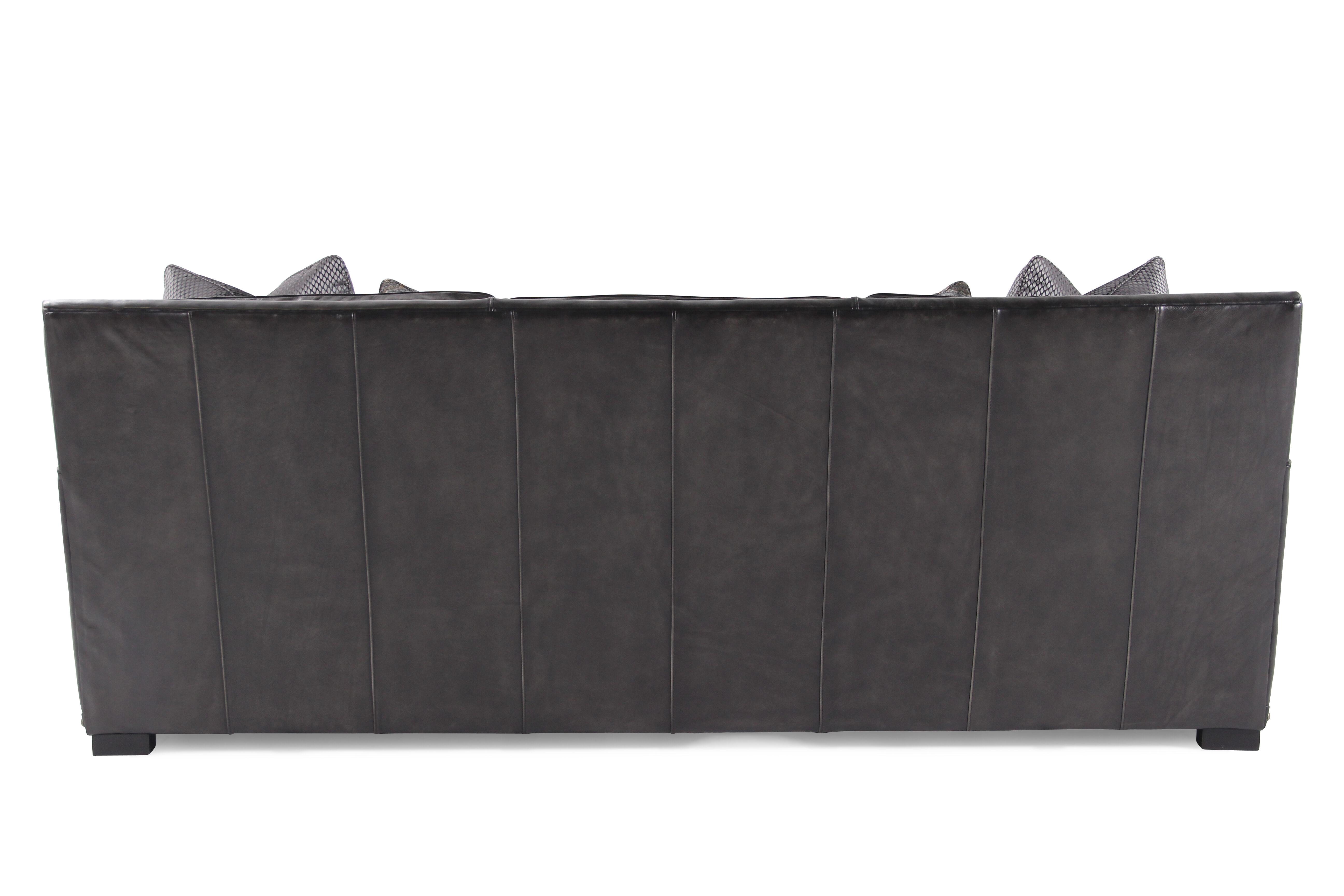 Nailhead Accented Leather 94u0026quot; Sofa In Graphite