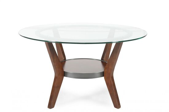 Three-Piece Round Contemporary Coffee Table Set in Dark Brown