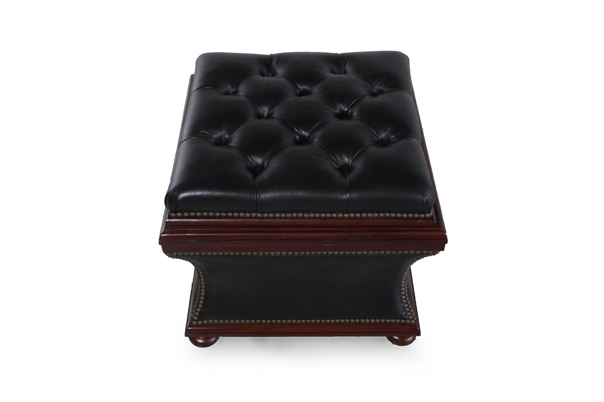 """Button-Tufted Transitional 20"""" Leather Ottoman In Dark"""