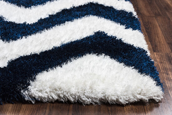 "Casual/Shag Hand-Tufted 3'6""  x  5'6"" Rectangle Rug in Navy"