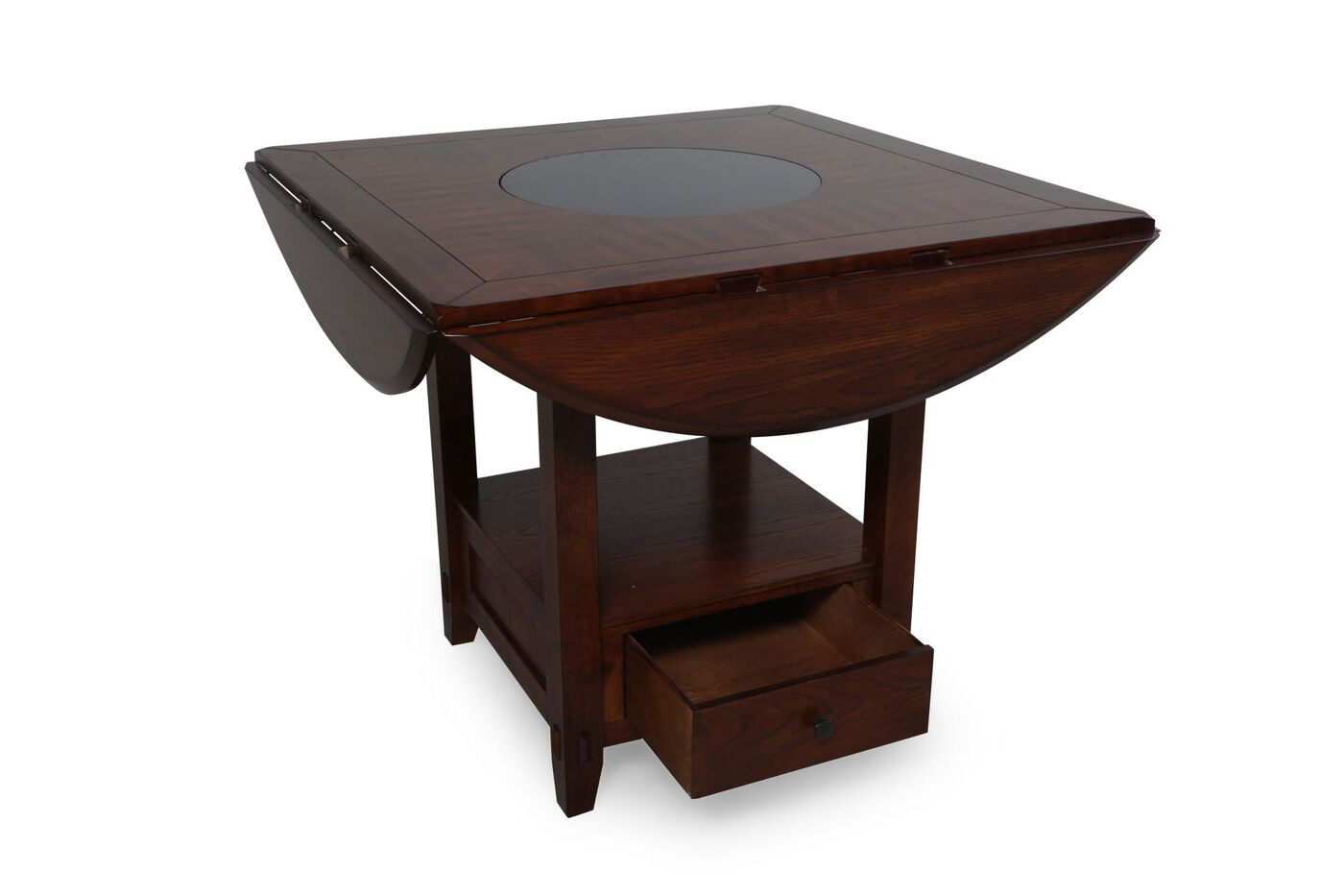 Traditional 42 to 60 drop leaf lazy susan dining table for 42 dining table with leaf
