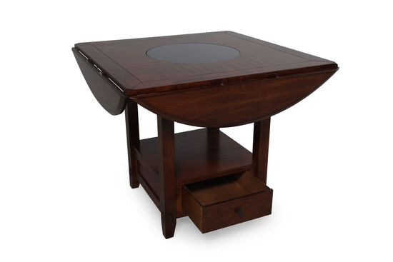 """Traditional 42"""" to 60"""" Drop Leaf Lazy Susan Dining Table in Distressed Walnut"""