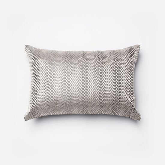 """Contemporary 13""""x21"""" Cover w/down pillow in Silver"""
