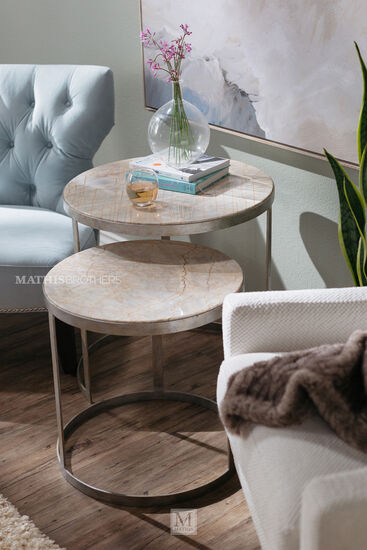 Round Metropolitan Nesting End Tables in Silver