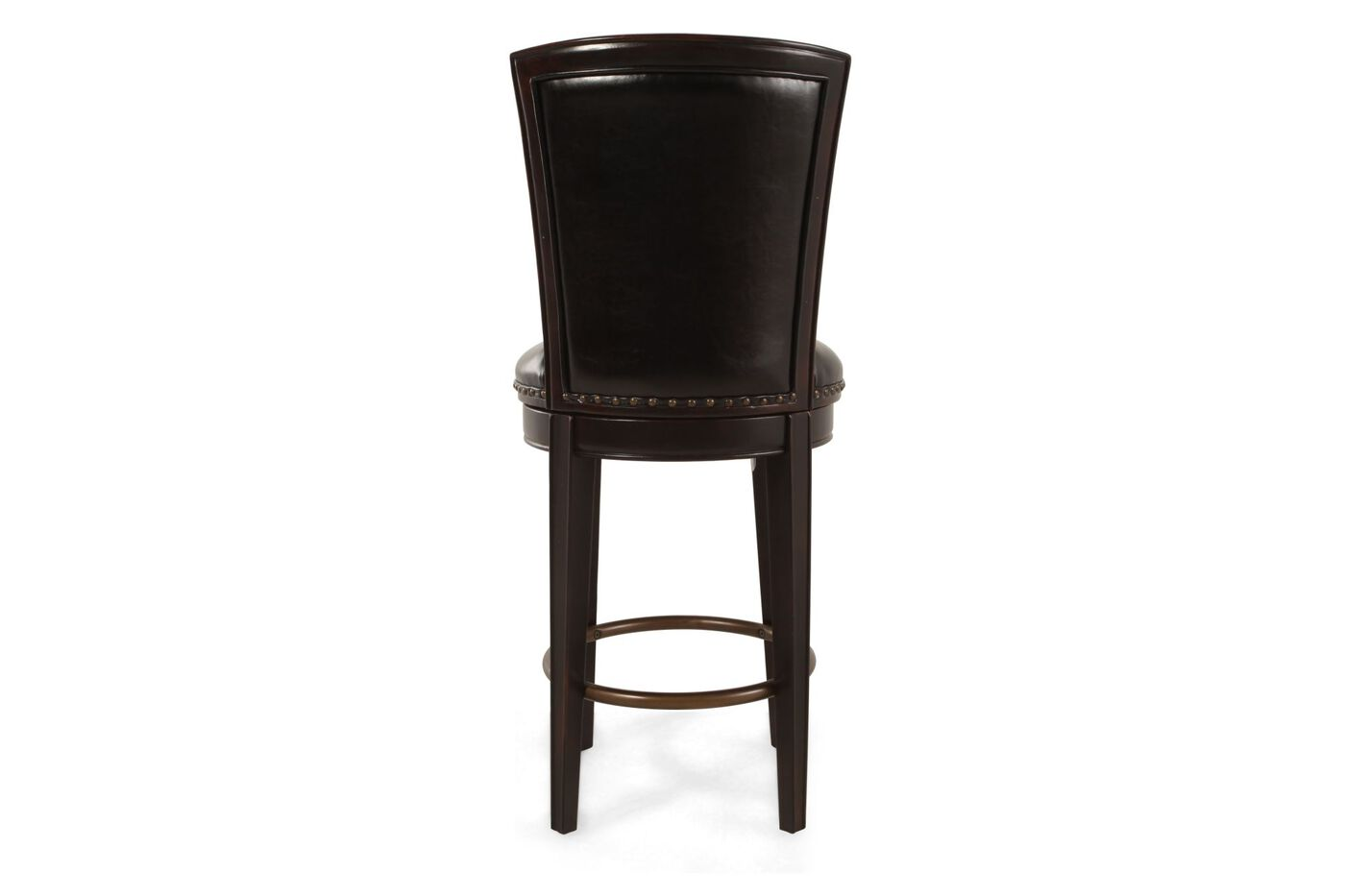 Leather Nailhead Accented 47 Quot Swivel Bar Stool In Dark