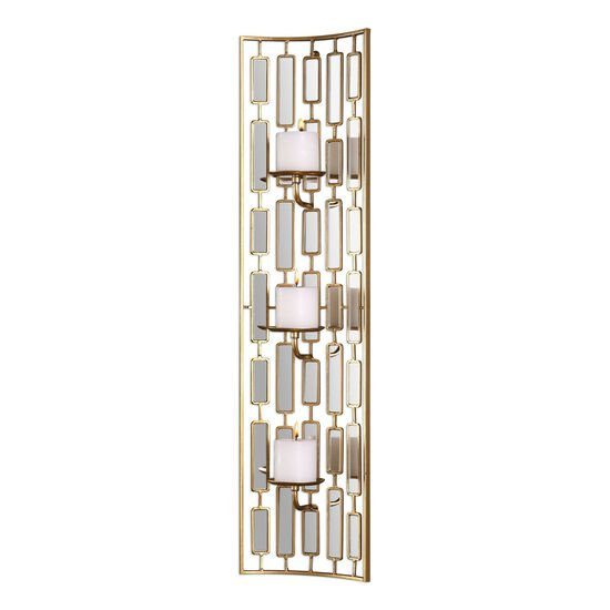 Vertical Mirrored Concave Wall Sconce in Gold Leaf
