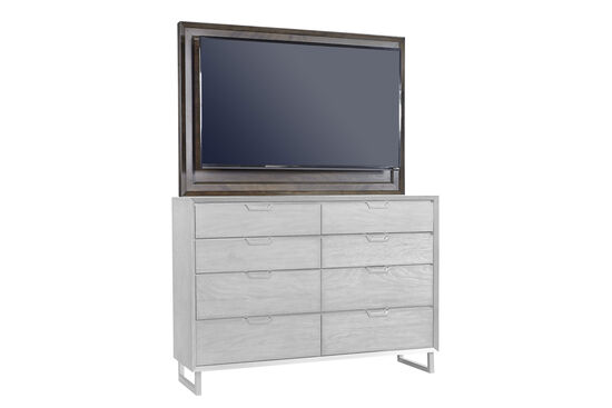 """38"""" Eight-Drawer Mid-Century Modern TV Frame with Mount in Graphite"""
