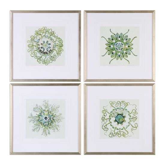Four-Piece Organic Symbols Printed Wall Art Set in Green