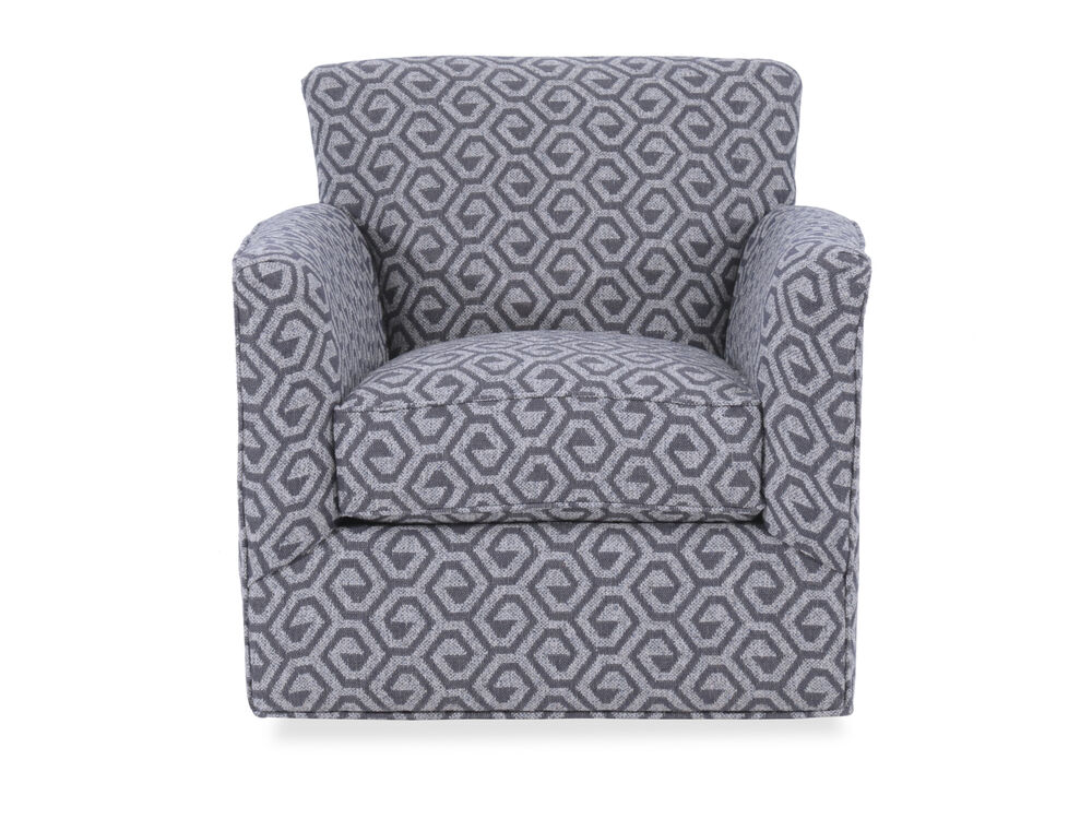 """Geometric Patterned Contemporary 34"""" Swivel Chair in Gray"""