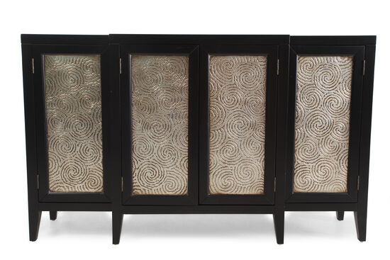 Swirl-Patterned Door Front Console in Black