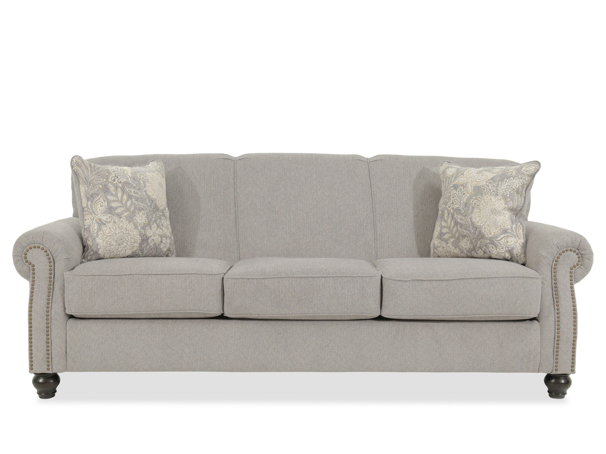 Contemporary Nailhead Accented 92u0026quot; Sofa In Gray ...